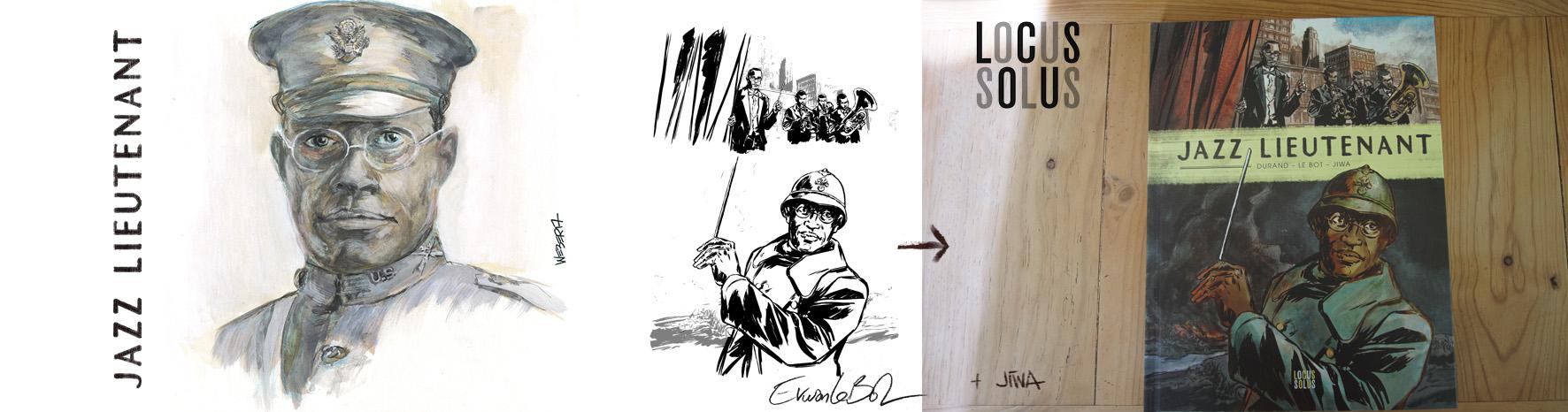 Jazz Lieutenant - portrait gauche: JIWA • couv Dessin BD:Erwan Le Bot • composition et mise en couleur: JIWA - © LOCUS SOLUS - 2018