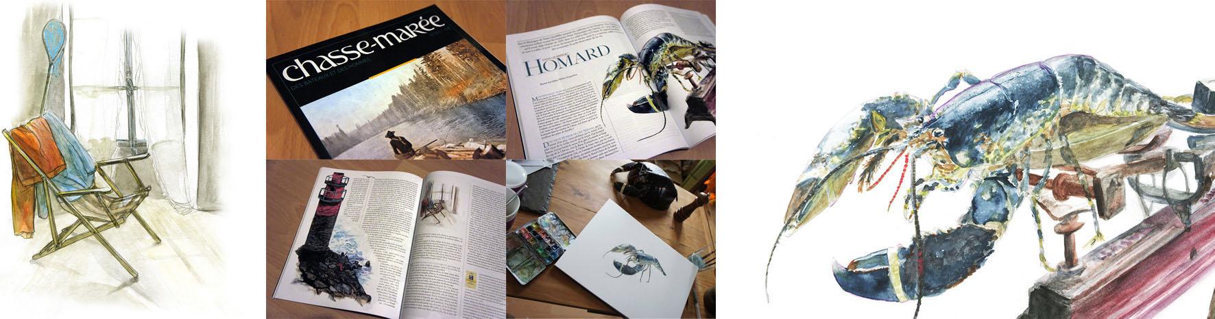 aquarelles pour le magazine Le Chasse-Maree - 2013